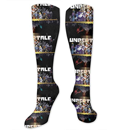 Fun Novelty Colorful Undertale_Main_Cast 3D Print Casual Cotton Colorful Patterned Long Stocking Socks Unisex