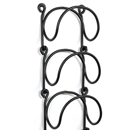 wallniture modular wrought iron wall mounted wine rack black curved finish set of 3