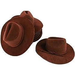 """12 Mini BROWN 4"""" Felt COWBOY HAT Western Wedding Party Favor"""