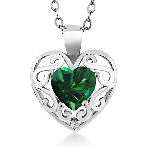 Gem Stone King 0.69 Ct Heart Shape Green Simulated Emerald White Created Sapphire 925 Silver Pendant with 18inches Chain