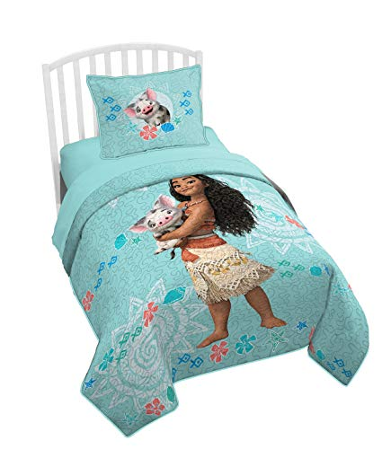 Jay Franco Moana Twin/Full Quilt & Sham Set - Super Soft Kids Bedding Features Moana - Fade Resistant Polyester (Official Product)