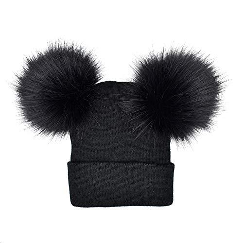 lightclub 2Pcs Warm Knitted Beanie Hat Adult Kid Matching Pompom Winter Autumn Cap -
