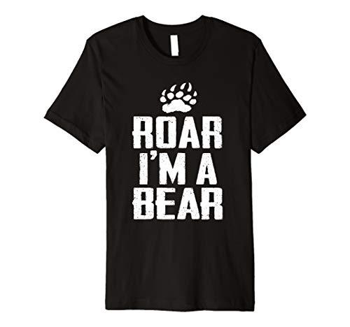 Roar I'm A Bear Funny Halloween Costume  Premium T-Shirt ()