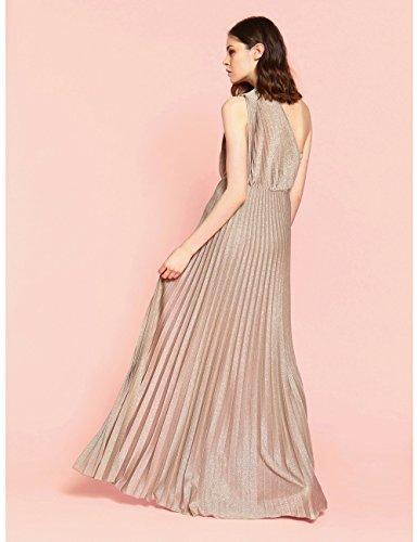 af0940cbcfb5 Motivi   Vestito Lungo Monospalla Plissé Oro 36 (Italian Size)  Amazon.it   Abbigliamento