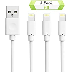 Charger Cable for iPhone, Quntis Charging Cables for iPhone, 3 Pack 6ft 8 Pin USB Lightning to USB Cable Cord Certified for iPhone 7 7 Plus 6 6S 6 Plus 5S SE iPod iPad Mini Air Pro and More (White)