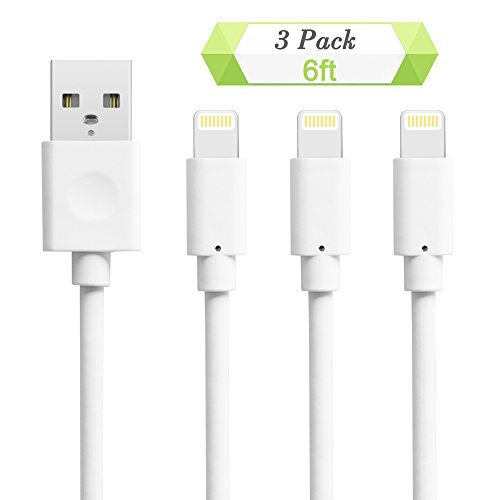 Quntis Charger Cables for iPhone, 3 Pack 6ft 8 Pin USB Lightning to USB Cable Cord Certified for iPhone 7 7 Plus 6 6S 6 Plus 5S SE iPod iPad Mini Air Pro and More (White)