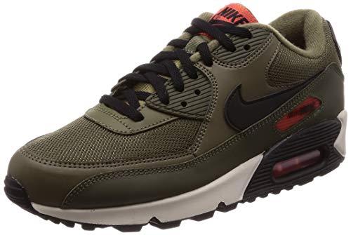 Nike Air Max 90 Essential Mens Sneakers AJ1285-205, Medium Olive/Black-Team Orange, Size US 13 (Nike Air Max 90 Mens Size 13)