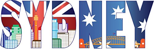 Sydney City Australia Slogan Set of 2 Home Decal Vinyl Sticker 14'' X 4''