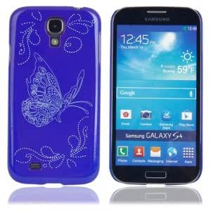 Plastic Protective Case with Butterfly Pattern for Samsung i9300 Blue