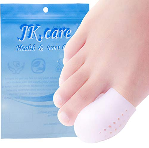 JKcare 10 Pack Big Toe Protectors, Gel Toe Caps, New Breathable Silicone Toe Covers with Holes- Cushion for Corns, Calluses, Blister, Ingrown Toenail and Reduce Friction - Large (Best Treatment For Broken Toe)