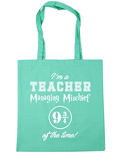 HippoWarehouse I'm A Teacher Managing Mischief 9 And 3 Quarters Of The Time! Tote Shopping Gym Beach Bag 42cm x38cm, 10 litres Mint