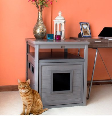 Superbe Litter Box End Table, EcoFLEX Jumbo Litter Loo Hidden Kitty  Color Gray