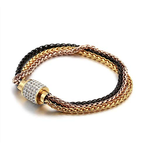 (I'S ISAACSONG Stainless Steel Multilayer Link Strand Bracelet- 3 Colored Braided Chain with Magnetic Clasp Stackable Bangles for Women and Men (Rose Gold, Yellow Gold & Black))