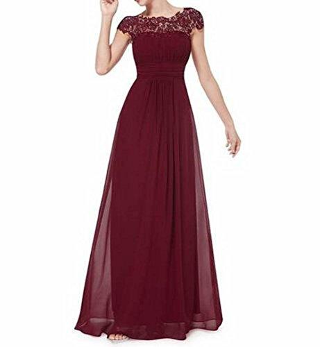 Leader Schönheit Rot Damen Abendkleid Burgunderrot Brustumfang offener Rücken der Gerüscht 1r7Sx1