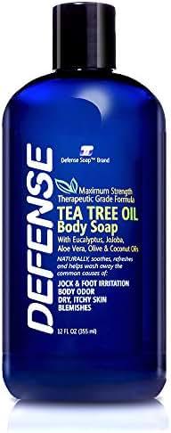 Defense Soap Body Wash Shower Gel 12 Oz - Natural Tea Tree Oil and Eucalyptus Oil