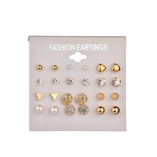 Auch 12 Pairs Dainty Crystal Pearl Stud Earrings in One Set, Gold