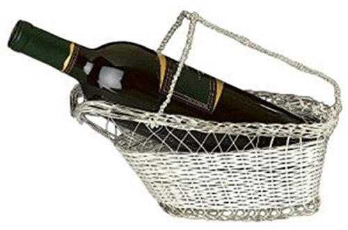 9.75 Inch Silver Plated Wine Bottle Cradle with Basket Weave Design by Franmara (Wine Bottle Basket)