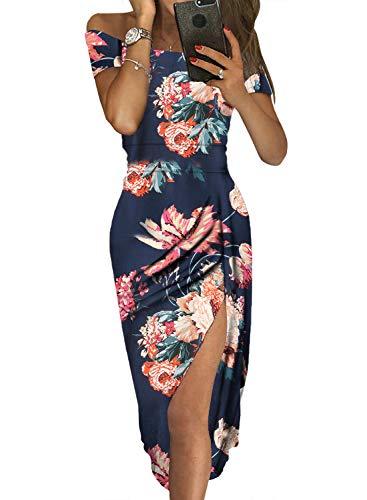 Dearlove Womens Sexy Off The Shoulder Floral Print Split Elegant Formal Work Evening Maxi Party Dresses Blue Medium