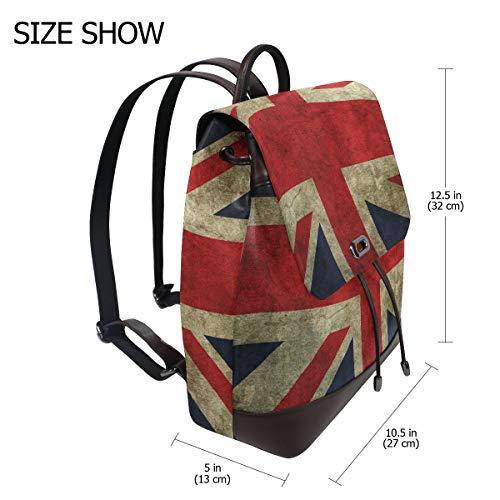 Kvinnor PU-läder brittisk flagga ryggsäck handväska resa skola axelväska ledig dagväska