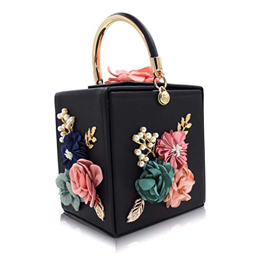 Black Female ULKpiaoliang Wedding Purse Clutch Ladies Evening Pink Clutches Flower Bag Black Women 0xzwgxpqSF