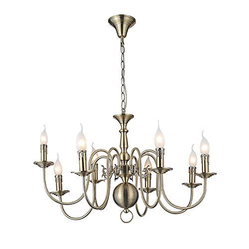 - KIKBLW 5-Light Chandelier, Green Bronze Chandelier Wrought Iron Candle Chandelier 110-120V / 220-240V / E14 Lamp Holder(Without Bulb),8heads