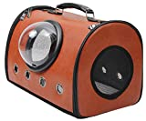 Delang Traveler Bubble Backpack Pet Carriers Square Switchable Mesh Panel Airline Travel Approved Carrier for Cats and Dogs Brown