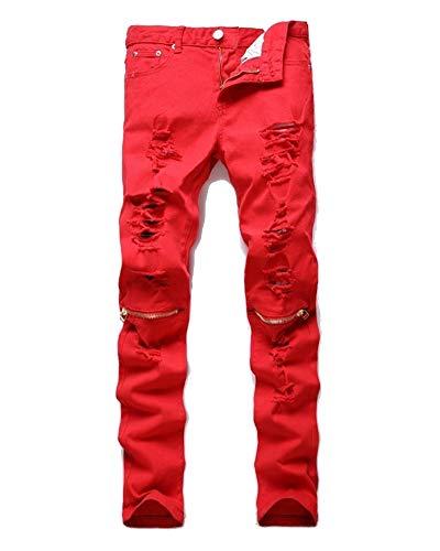 Estilo de Diseño Pantalones Hombre Fit Denim Biker Slim Rojo Vaqueros nxWCBaqYFa