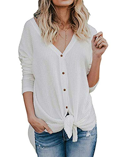 40c75169feffb BB KK Womens Plain Shirts Waffle Knit Tunic Blouse Tie Knot Henley Tops  Loose