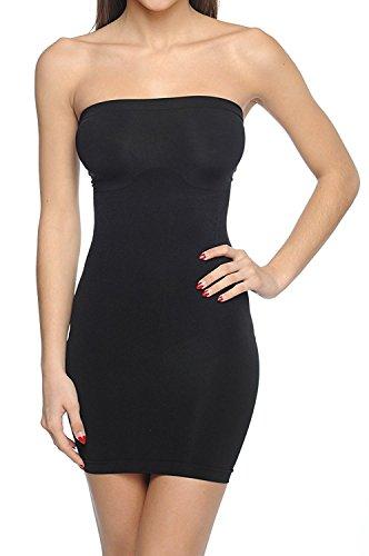 Body Beautiful Strapless Full Body Slip Shaper Black Large/XLarge