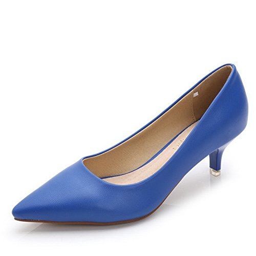 AalarDom Womens Solid Kitten-Heels Pointed-Toe Pull-On Pumps-Shoes Blue-pu iPw9d49p