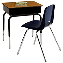 ECR4KIDS ELR-SPC-24004 6 Desks and 6 Chairs, Metal Basket Desks with 12\