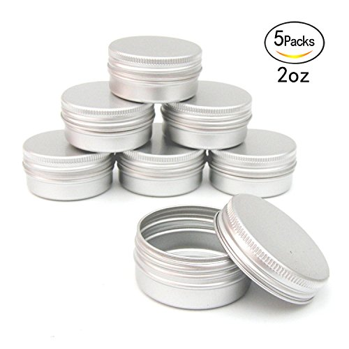 Healthcom 2oz Metal Tin Steel Flat Silver Metal Tins Jars Empty Slip Slide Round Tin Containers With Tight Sealed Twist Screwtop Cover,5 Pcs - Tin Container