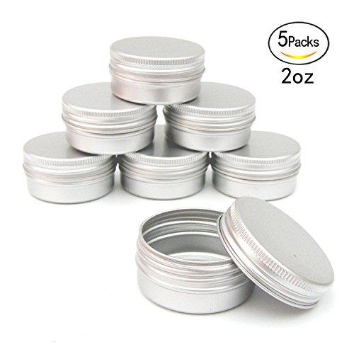 Healthcom 2oz Metal Tin Steel Flat Silver Metal Tins Jars Empty Slip Slide...
