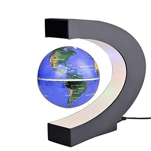 - Gbell Magnetic Levitation World Map Globe with C Shape Base,Floating Rotating LED Light Earth Planet Globe Ball,Educational Tool Gifts for Kids Student,Home Office Desk Decoration,18x4.8x17.3CM (Blue)