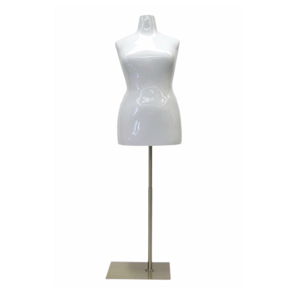 (MD-FF18/20W1) Female Mannequin Torso, Size18-20. Fiberglass material. Glossy White Color + Base