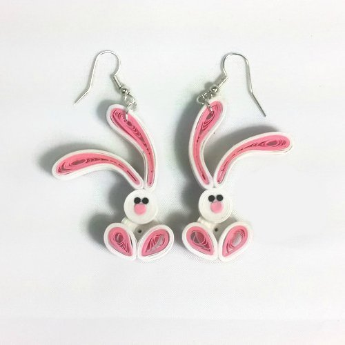 Easter Bunny Earrings White Rabbit Paper Quilling Jewelry