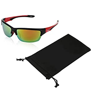 Coolook Polarized Sports Sunglasses For Baseball Golfing Fishing (Red Fire Black 65mm)