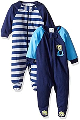 Safari Gerber Baby Boys 2 Pack Zip Front Sleep n Play 3-6 Months