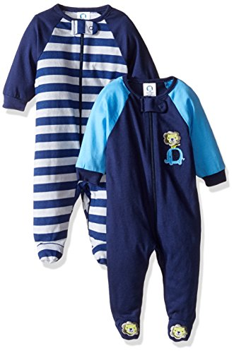 Gerber Boys' 2 Pack Zip Front Sleep 'N Play, Safari, 3-6 Months