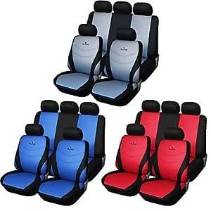 NBCVFUINJ® 9 PC asiento del coche cubre establecer gris azul rojo universal de ajuste carreras de material de diseño de bordado asiento de poliéster , red