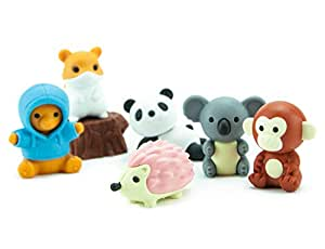 IWAKO Kawaii Panda Erasers IWAKO Japanese Animal Novelty Puzzle Eraser Rubbers
