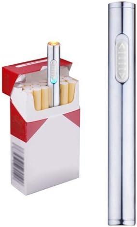 Mini USB de mechero, recargable, resistente al viento, mechero electrónico plasma sin llama, portátil, plata: Amazon.es: Hogar