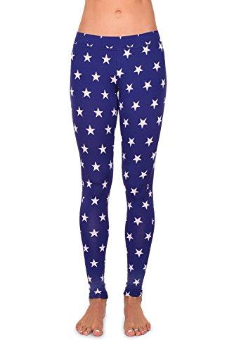 Women's USA Patriotic American Flag Leggings Pants (Medium, White Stars) (Blue Stripe Leggings)