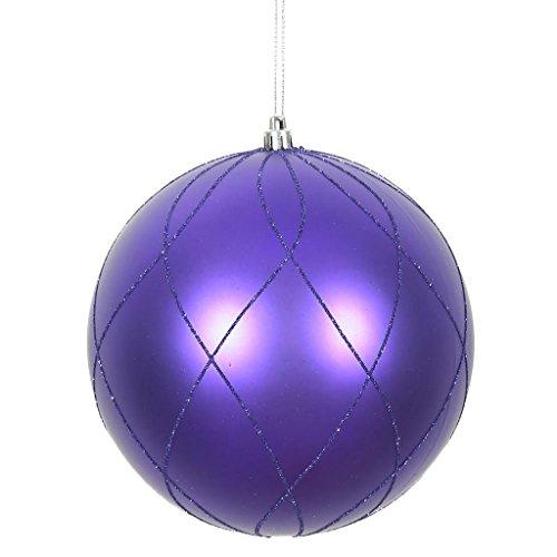 Vickerman 471760-6 Purple Matte Finish Glitter Swirl Ball Christmas Tree Ornament (3 pack) (N170766D) ()