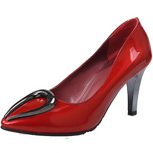VogueZone009 Women's Pull On Pointed Closed Toe High-Heels PU Solid Pumps-Shoes Red xKT2An