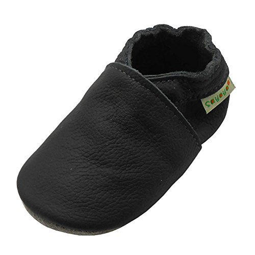 Sayoyo Lowest Best Baby Soft Sole Prewalkers Skid-Resistant Baby Toddler Shoes Cowhide Shoes (0-6 Months, Dark Grey) (Leather Boys Soft)