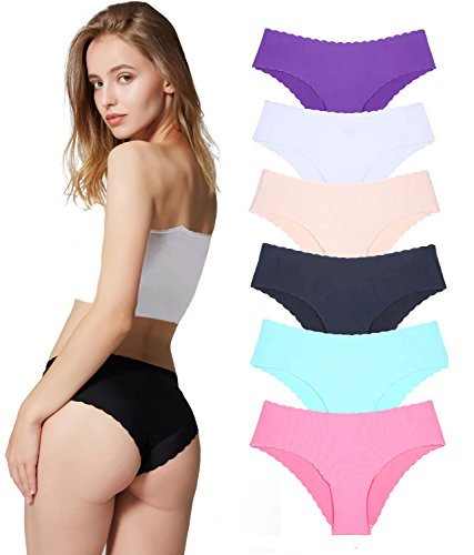 Underwear Women, Panties Hipster Seamless Invisible Bikini Half Back Coverage Lingerie-6 Pack Colors