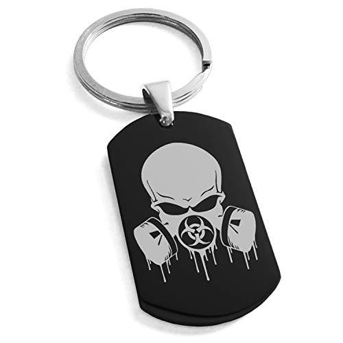 - Tioneer Black Stainless Steel Biohazard Skull Gas Mask Symbol Engraved Dog Tag Keychain Keyring