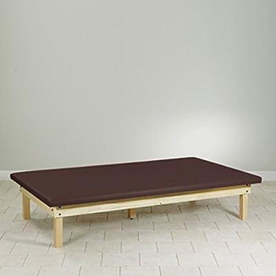 Upholstered top Mat Platform Treatment Table Wood frame 4 x 7 Burgundy