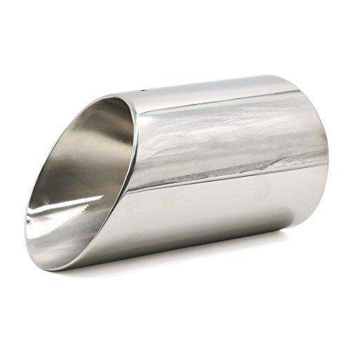 DealMux 85mm entrada la cola del cromo Garganta Pipe extremidad del silenciador del extractor de Vehí culo
